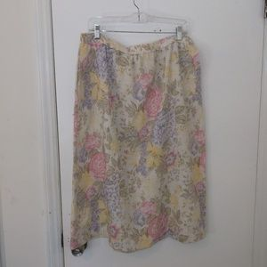 Southern Lady Pastel Floral A Line Skirt 18 Misses